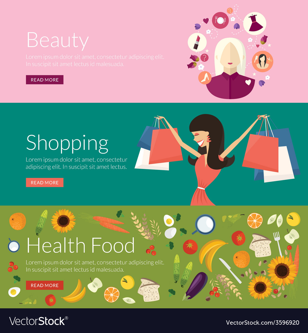Flat design concept for beauty shopping and health vector | Price: 1 Credit (USD $1)