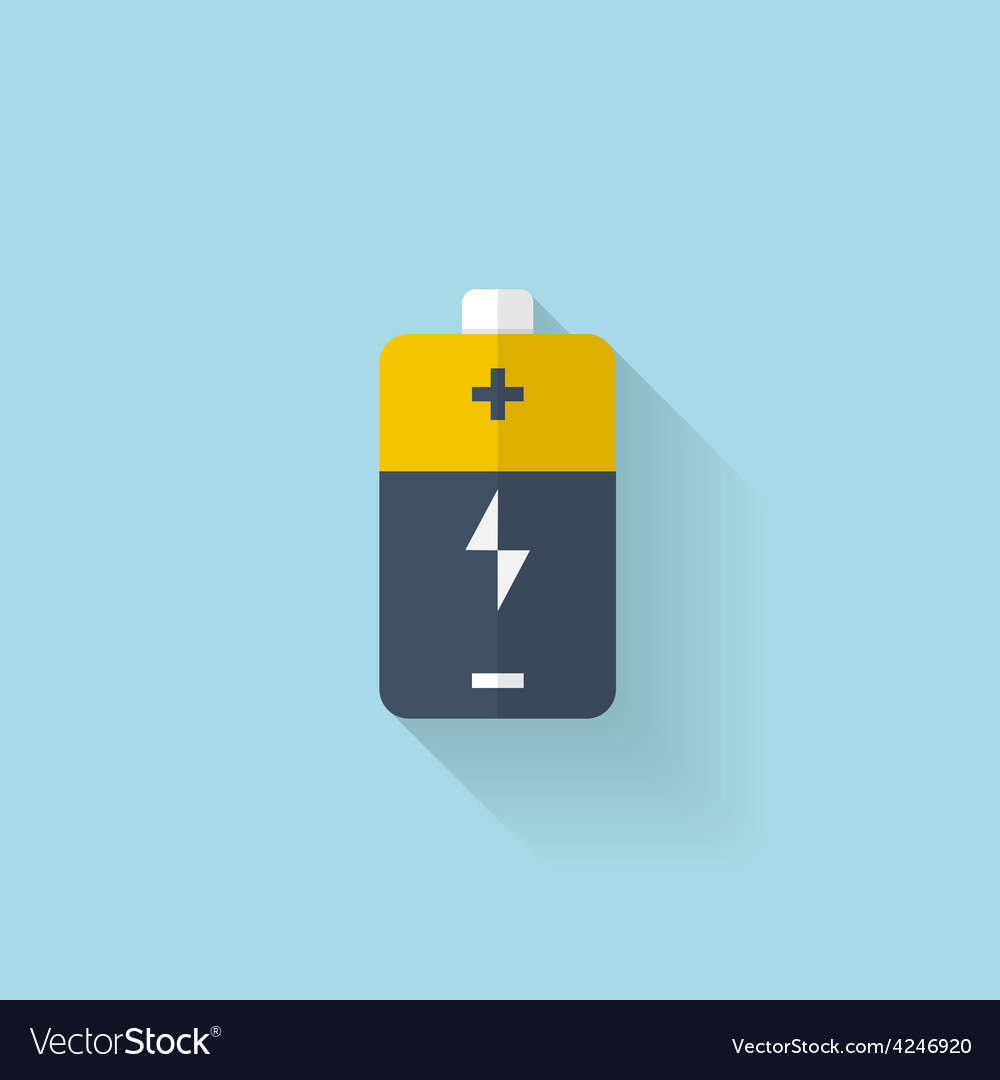 Flat web icon battery accumulator vector | Price: 1 Credit (USD $1)
