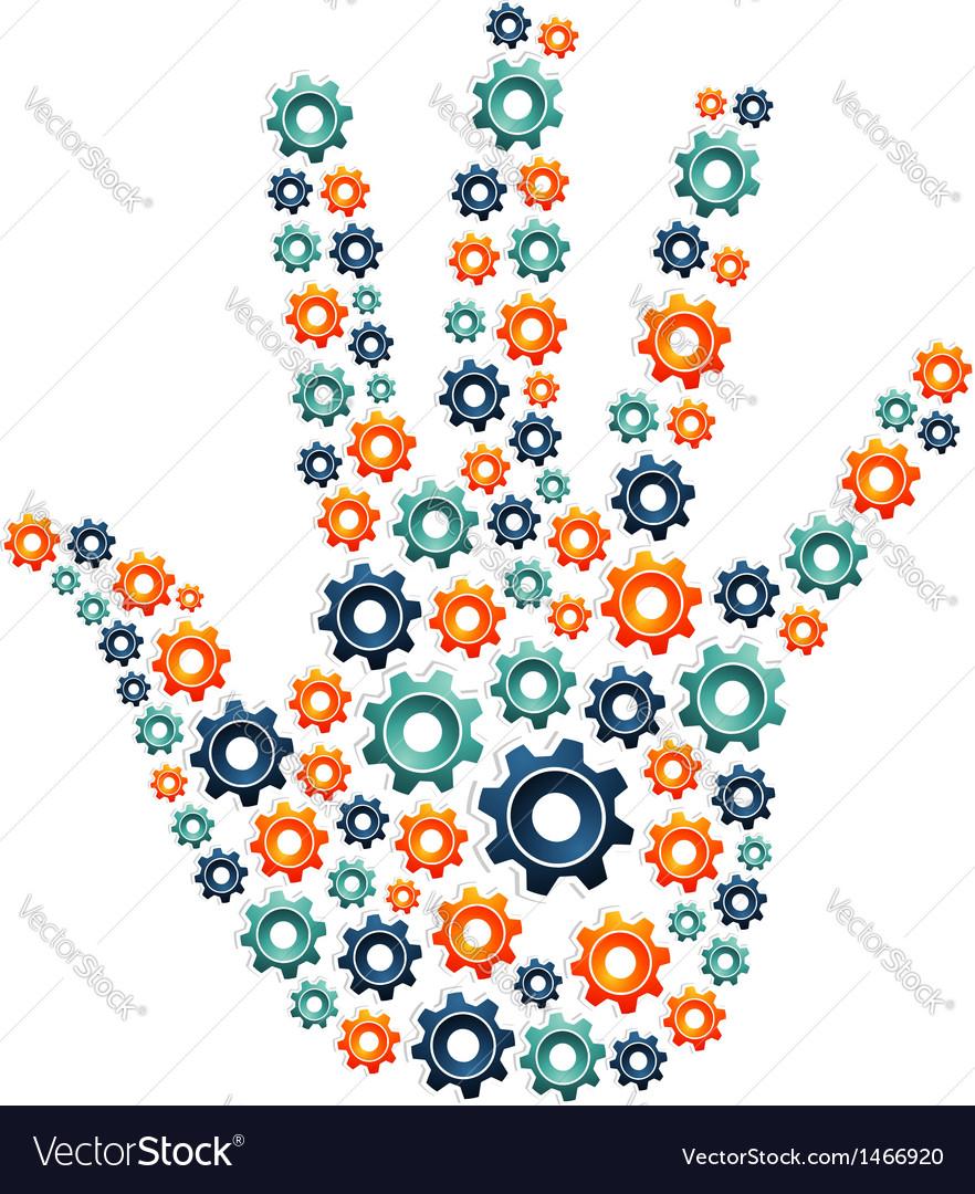 Gear open hand vector | Price: 1 Credit (USD $1)