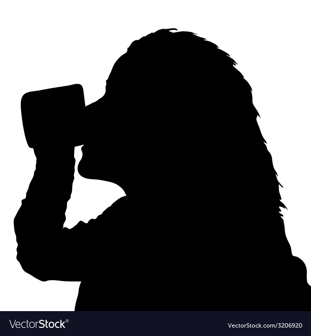 Girl drinking from a cup black silhouette vector | Price: 1 Credit (USD $1)