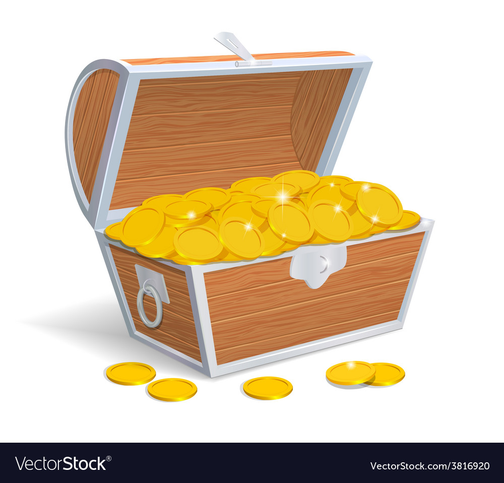 Wood chest full with gold coins vector | Price: 1 Credit (USD $1)
