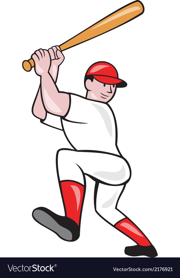 Baseball player batting isolated full cartoon vector | Price: 1 Credit (USD $1)
