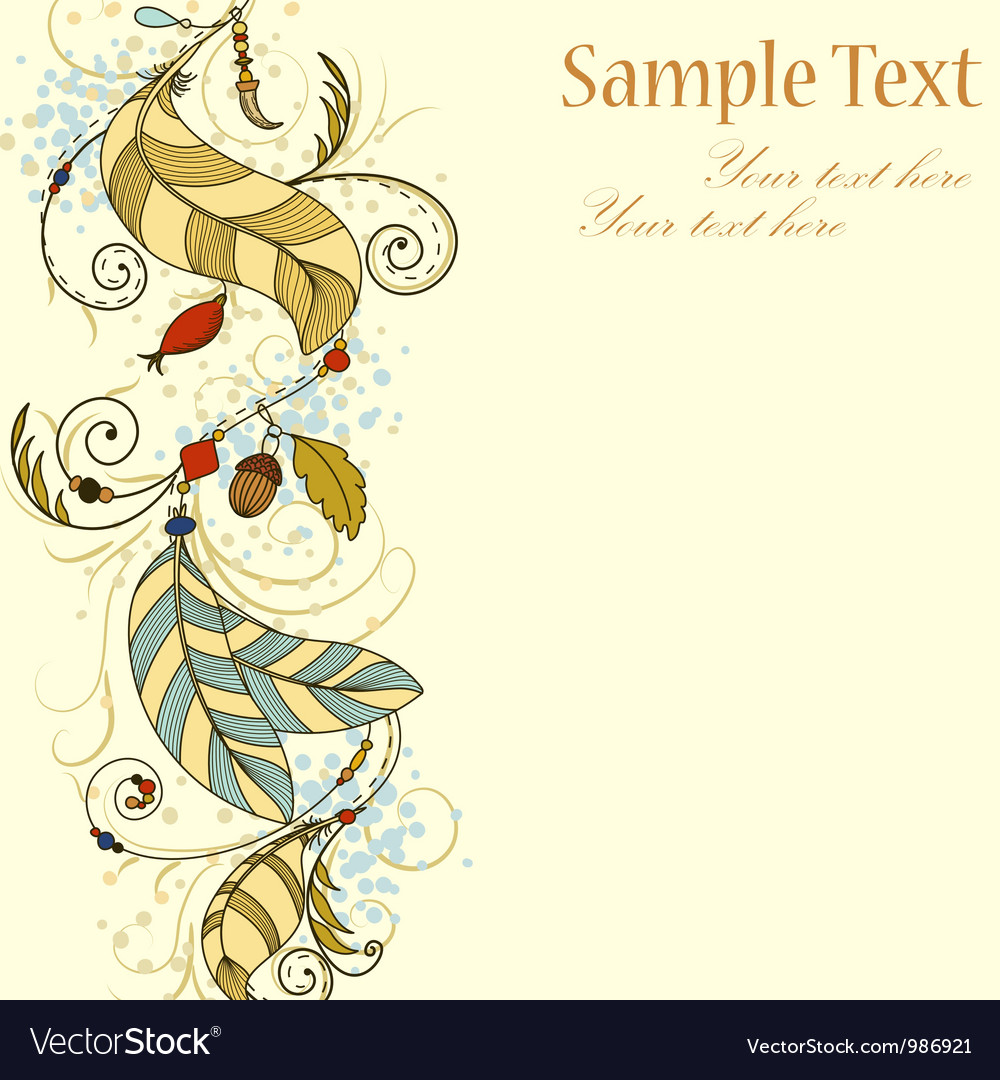Greeting card wit feathers and beads vector | Price: 1 Credit (USD $1)