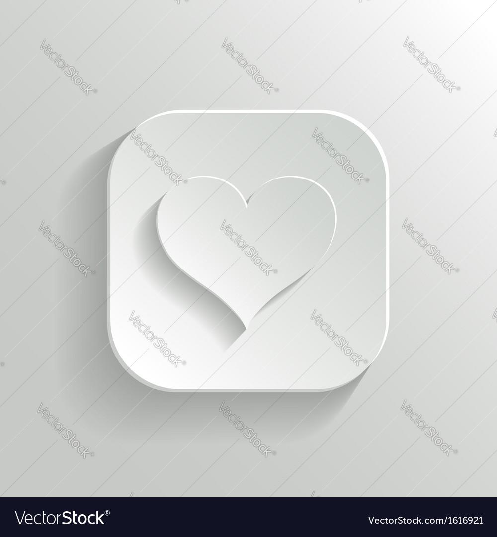 Heart icon - white app button vector | Price: 1 Credit (USD $1)