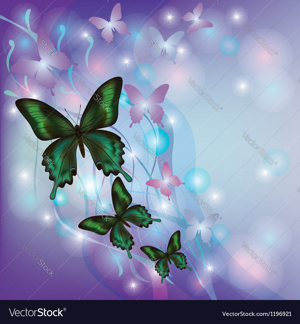 Light glowing abstract background with butterflies vector | Price: 1 Credit (USD $1)