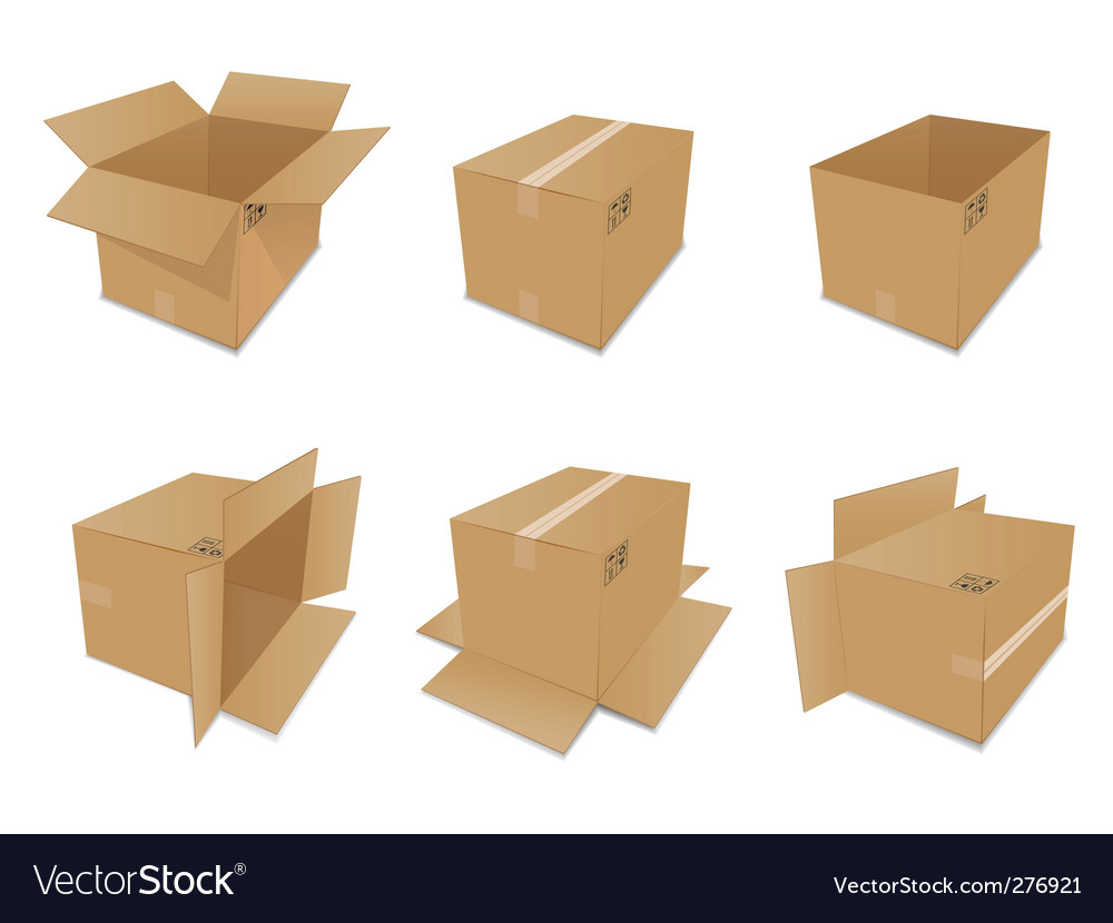 Set of cardboard boxes vector | Price: 1 Credit (USD $1)