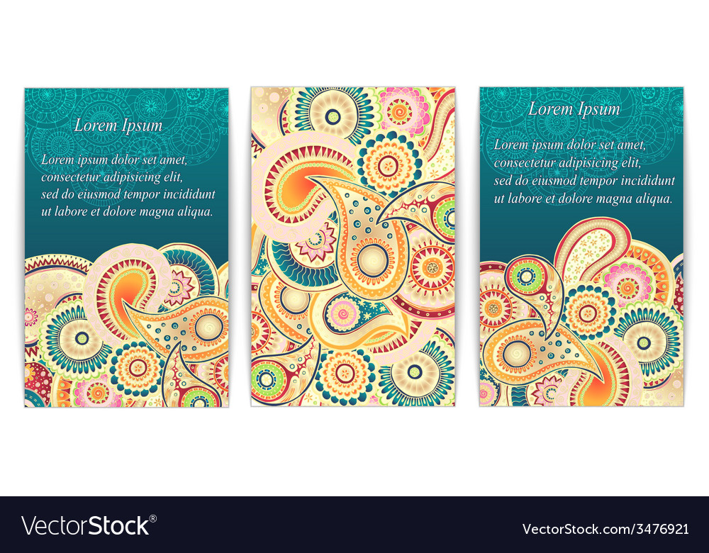 Set of doodle paisley posters for your business vector | Price: 1 Credit (USD $1)