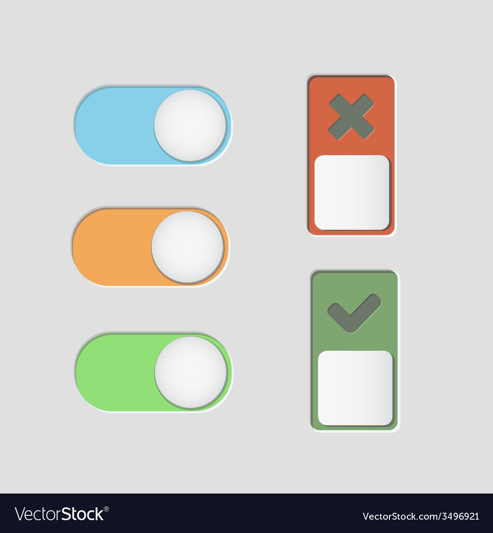 Toggle switch icons and check mark vector   Price: 1 Credit (USD $1)