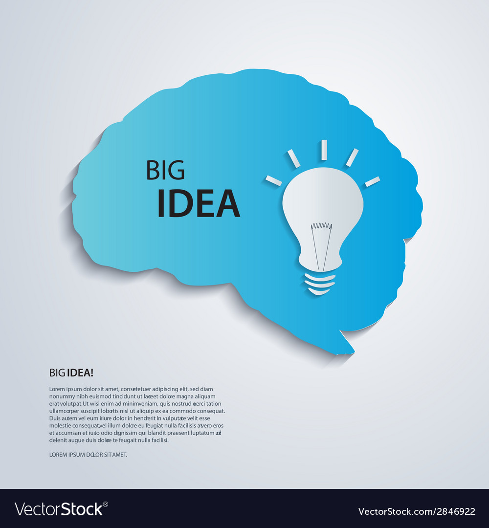 Blue brain with bulb idea concept vector | Price: 1 Credit (USD $1)