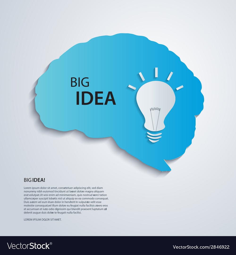 Blue brain with bulb idea concept vector | Price: 1 Credit (USD $1)