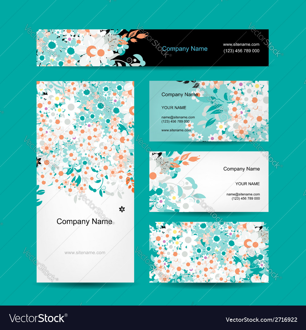 Business cards design floral style vector | Price: 1 Credit (USD $1)
