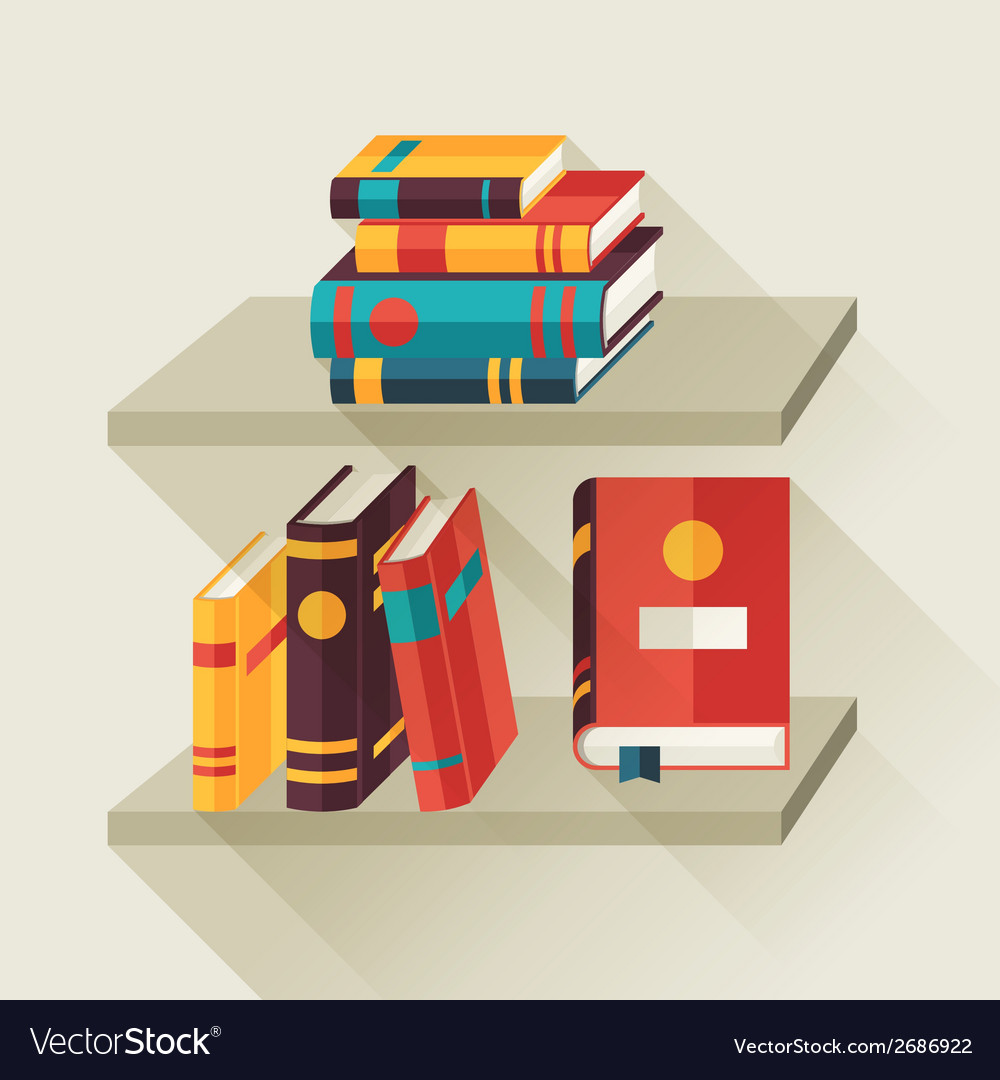 Card with books on bookshelves in flat design vector | Price: 1 Credit (USD $1)