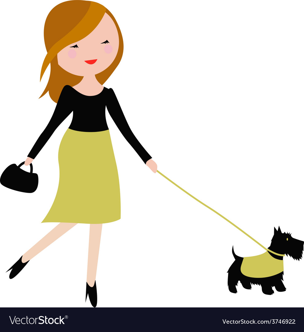 Fashinable young woman with cute dog vector   Price: 1 Credit (USD $1)