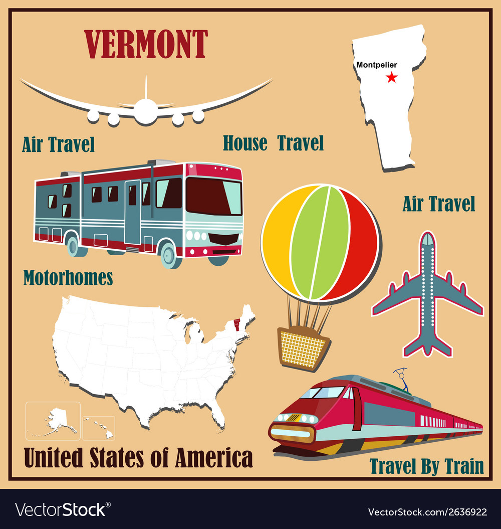 Flat map of vermont vector | Price: 1 Credit (USD $1)