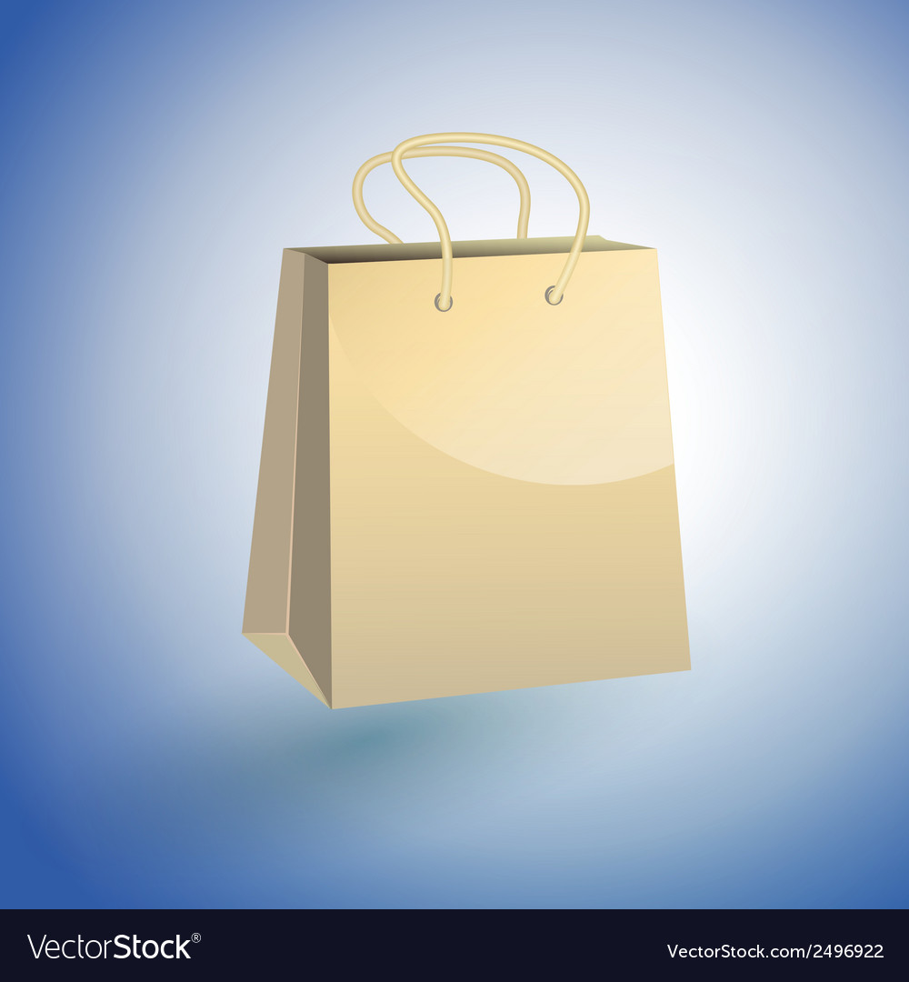 Paper shopping bag on blue background vector | Price: 1 Credit (USD $1)