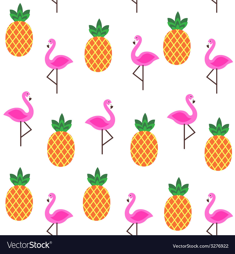 Seamless print with flamingo and pineapples vector | Price: 1 Credit (USD $1)