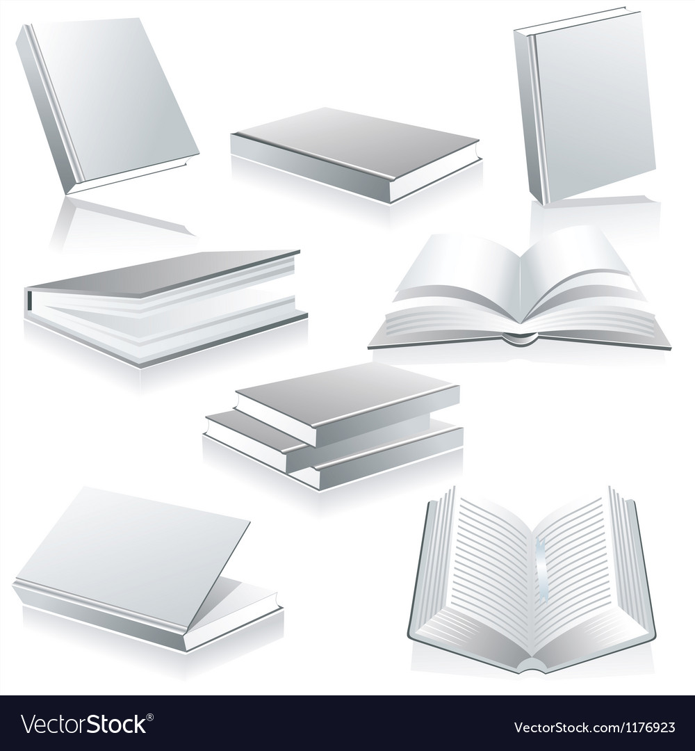 Blank book cover white isolated vector | Price: 1 Credit (USD $1)
