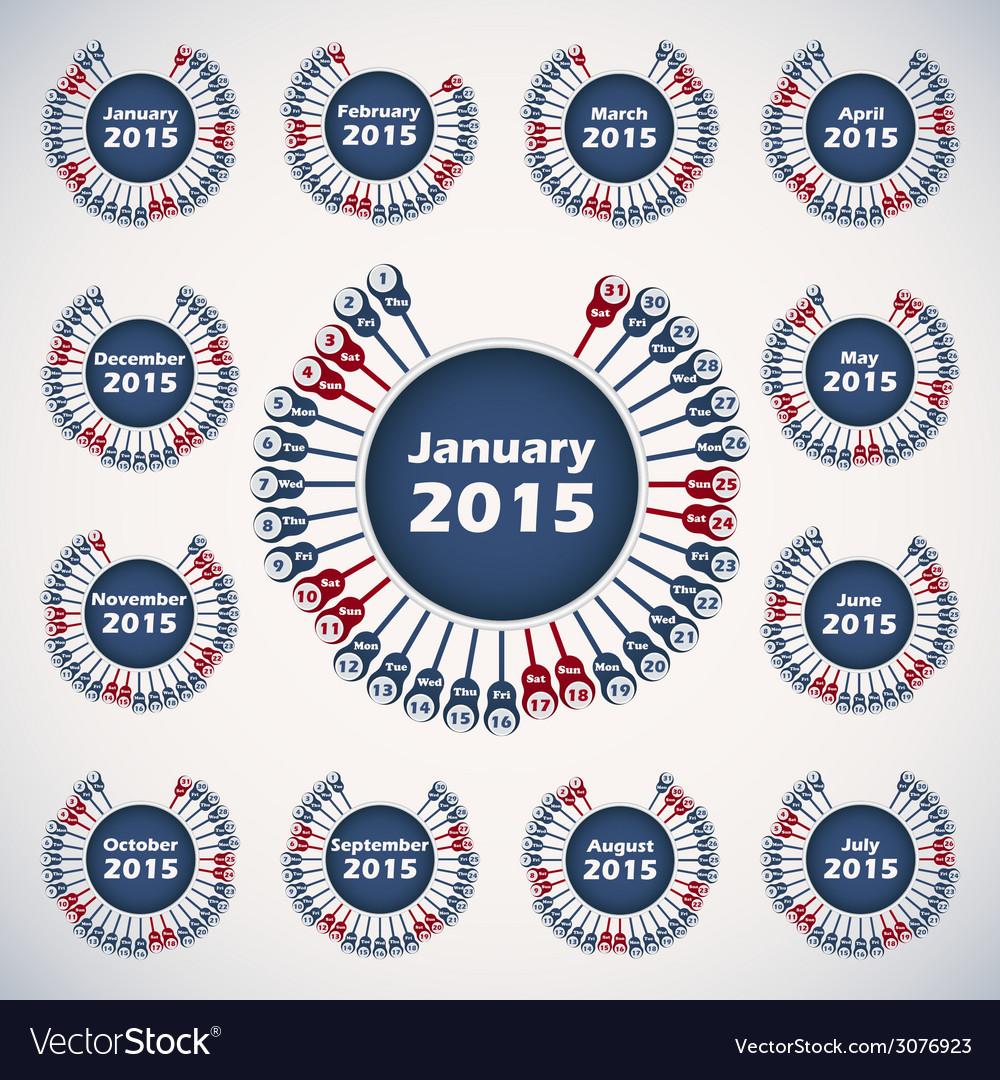 Calendar 2015 template vector | Price: 1 Credit (USD $1)