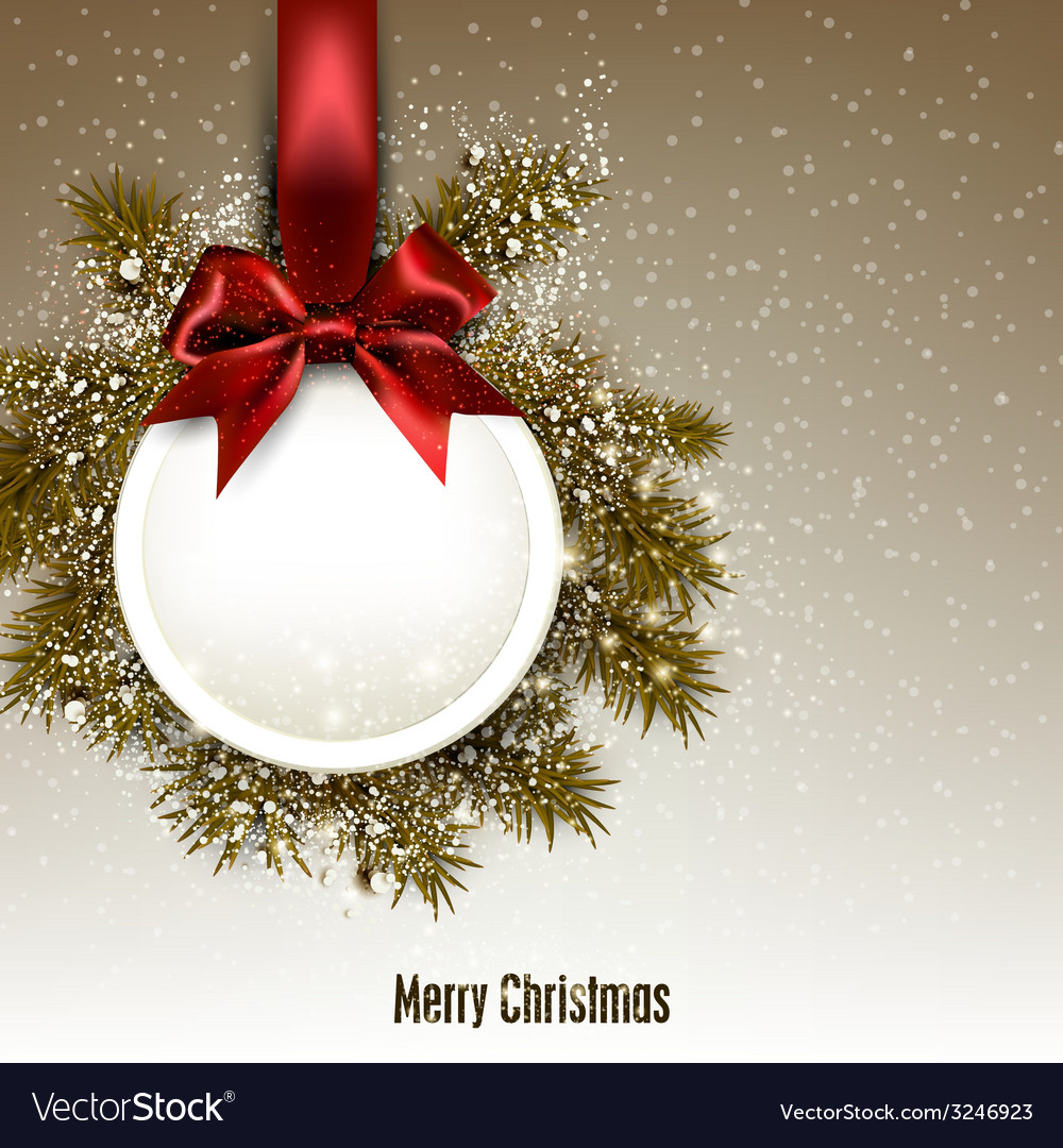 Christmas gift card with red ribbon and satin bow vector | Price: 3 Credit (USD $3)