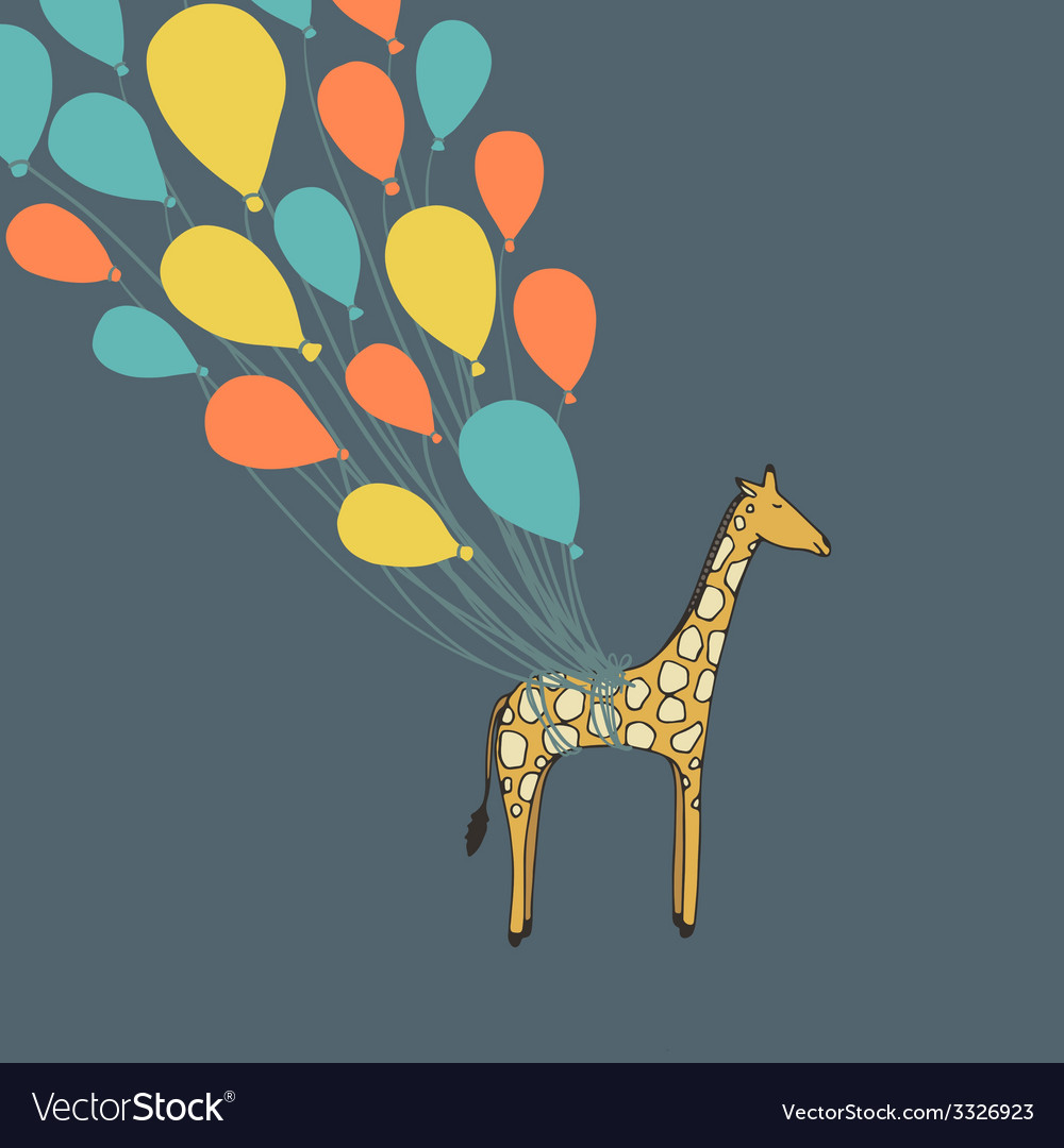 Cute hand drawn giraffe flying on the balloons - vector | Price: 1 Credit (USD $1)