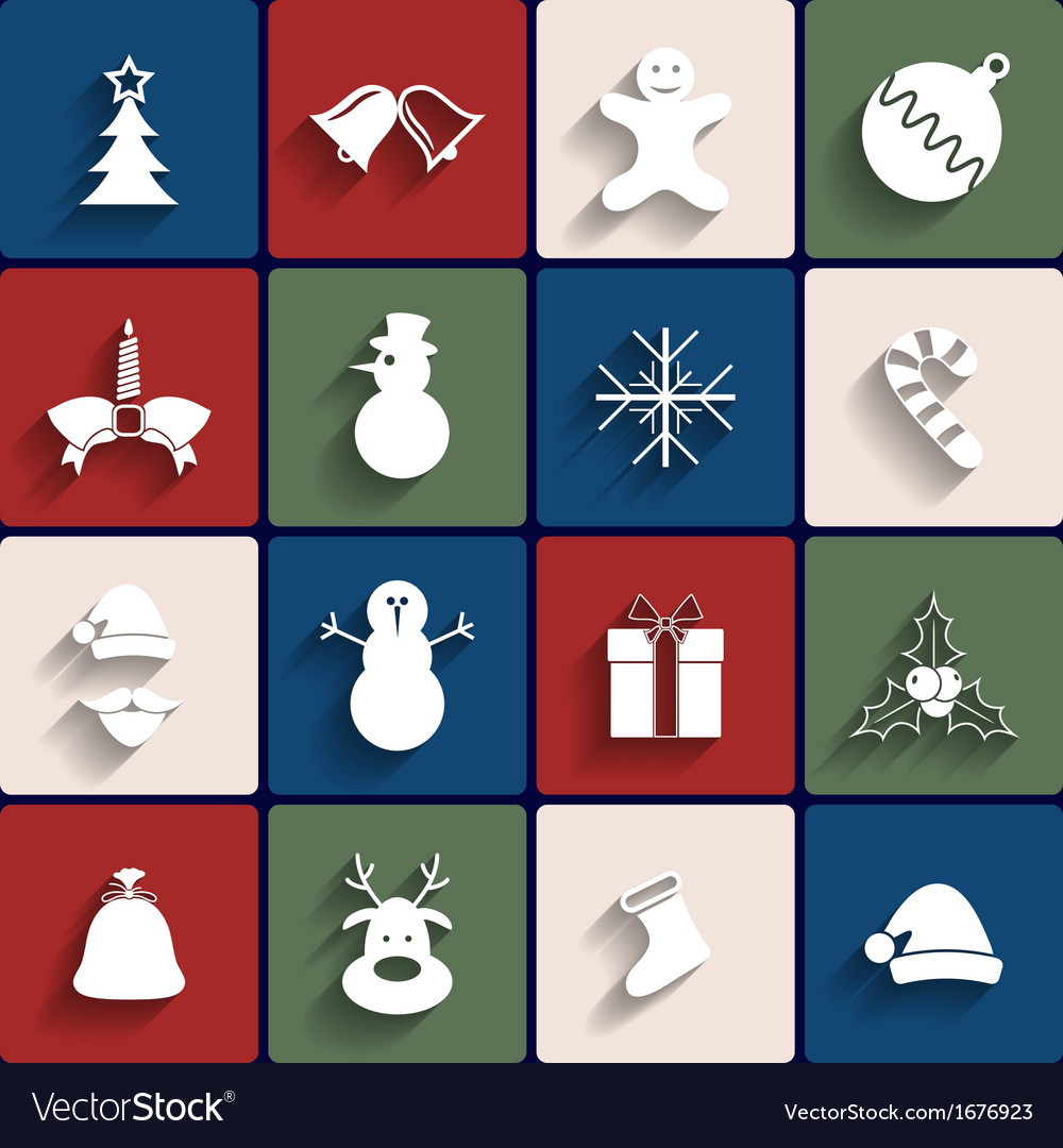 Flat icons set christmas and new year vector | Price: 1 Credit (USD $1)