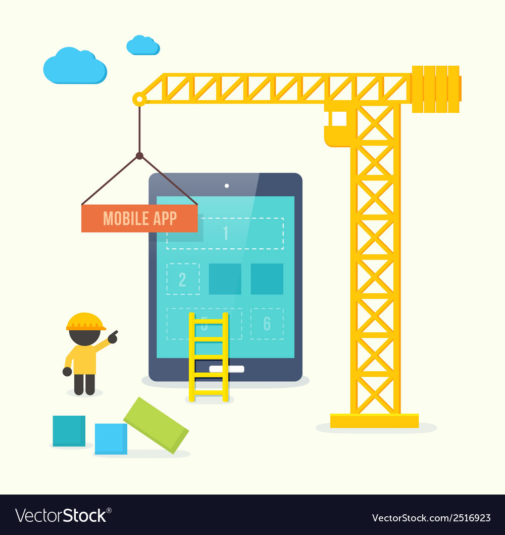 Flat style concept of mobile app developement vector | Price: 1 Credit (USD $1)