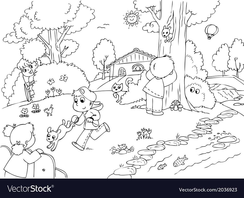 Friends playing hide seek vector | Price: 1 Credit (USD $1)
