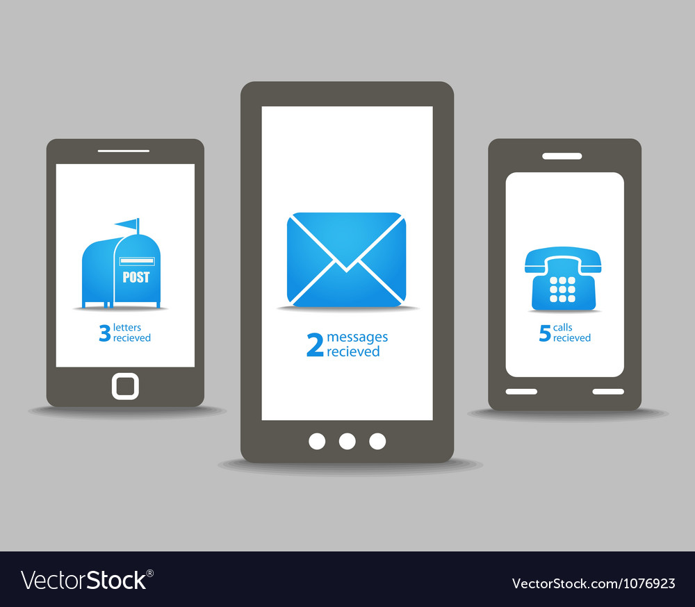 Group of modern mobile phones with speech clouds vector | Price: 1 Credit (USD $1)