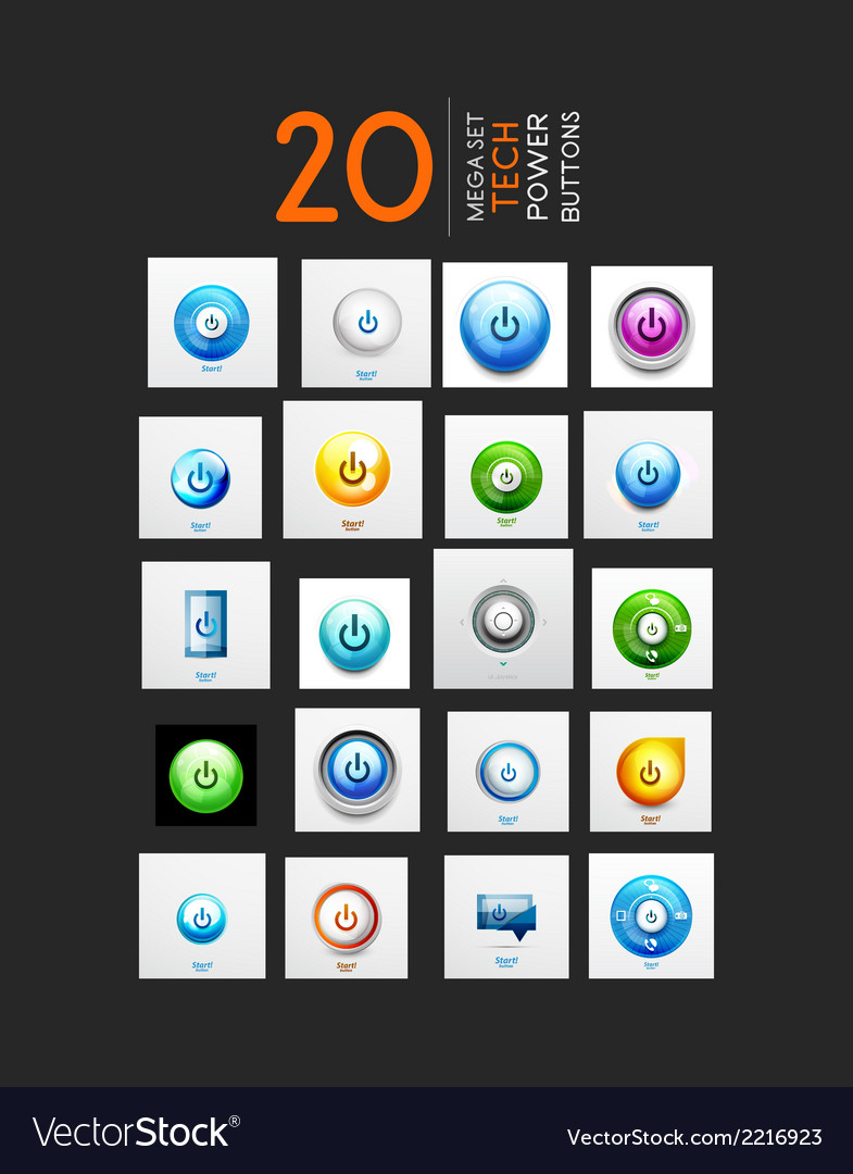 Mega set of abstract power buttons vector | Price: 1 Credit (USD $1)