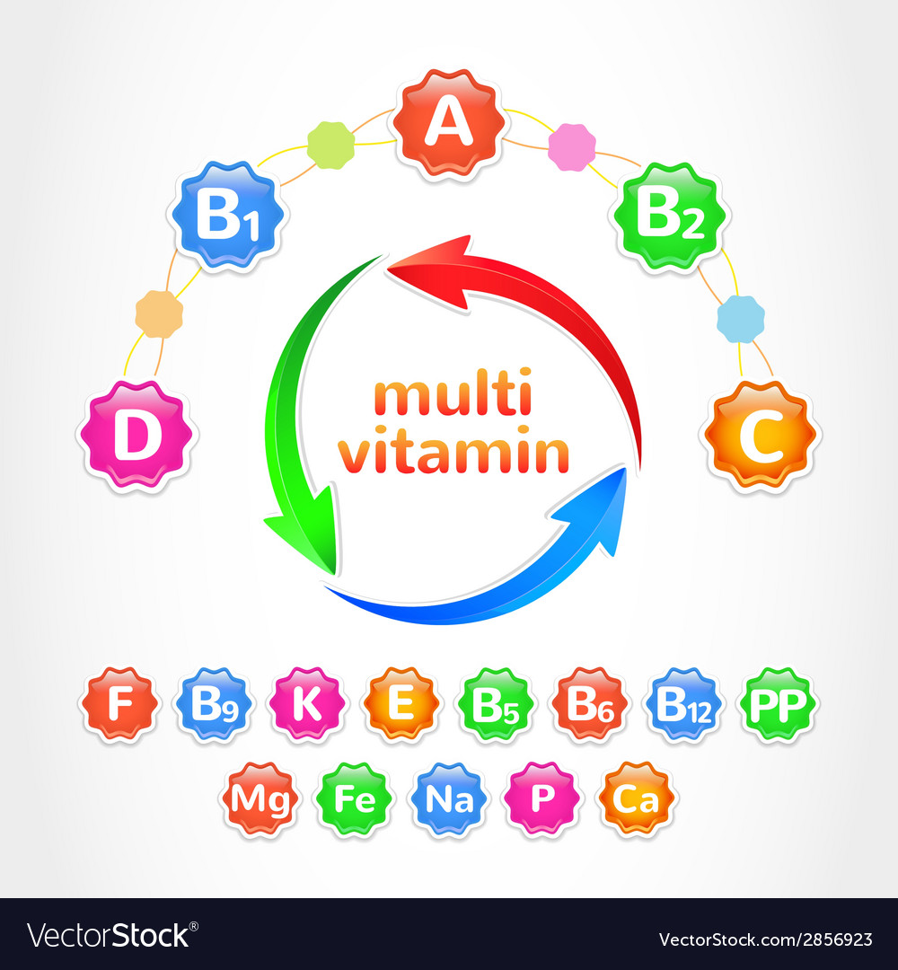 Set multivitamins vector | Price: 1 Credit (USD $1)