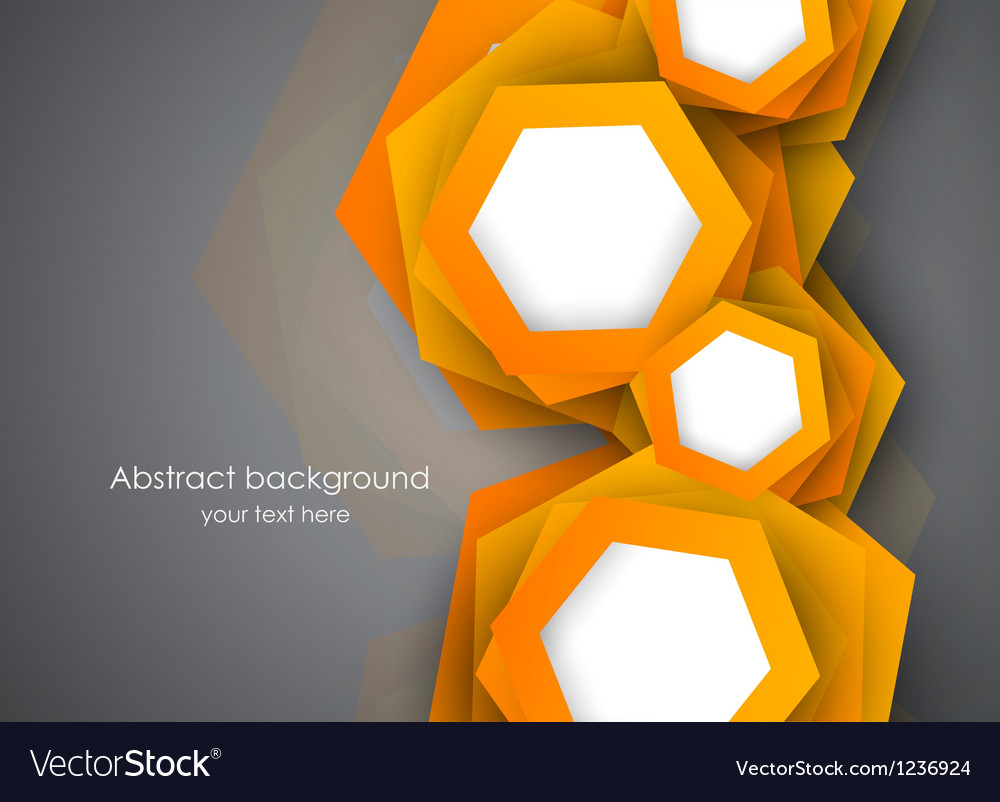 Background with orange hexagons vector | Price: 1 Credit (USD $1)