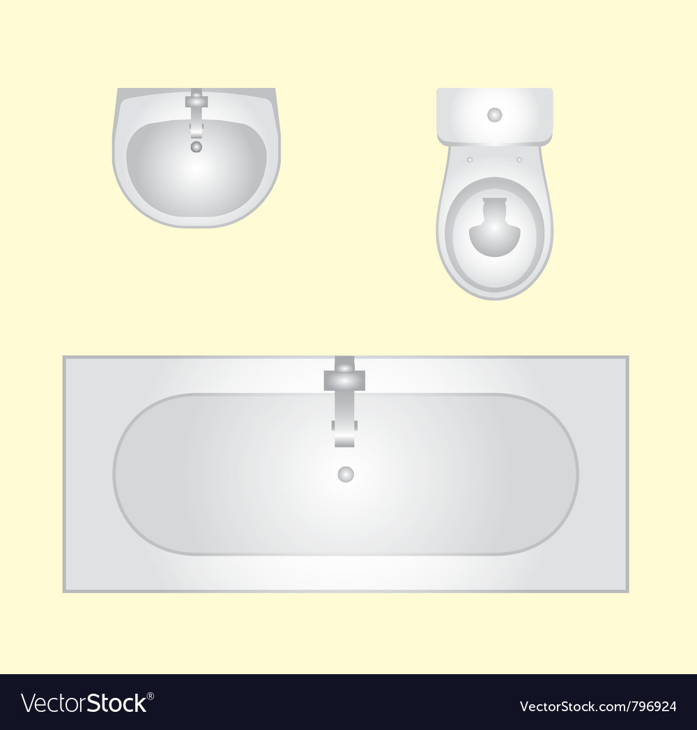 Basin bathtub an toilet vector | Price: 1 Credit (USD $1)