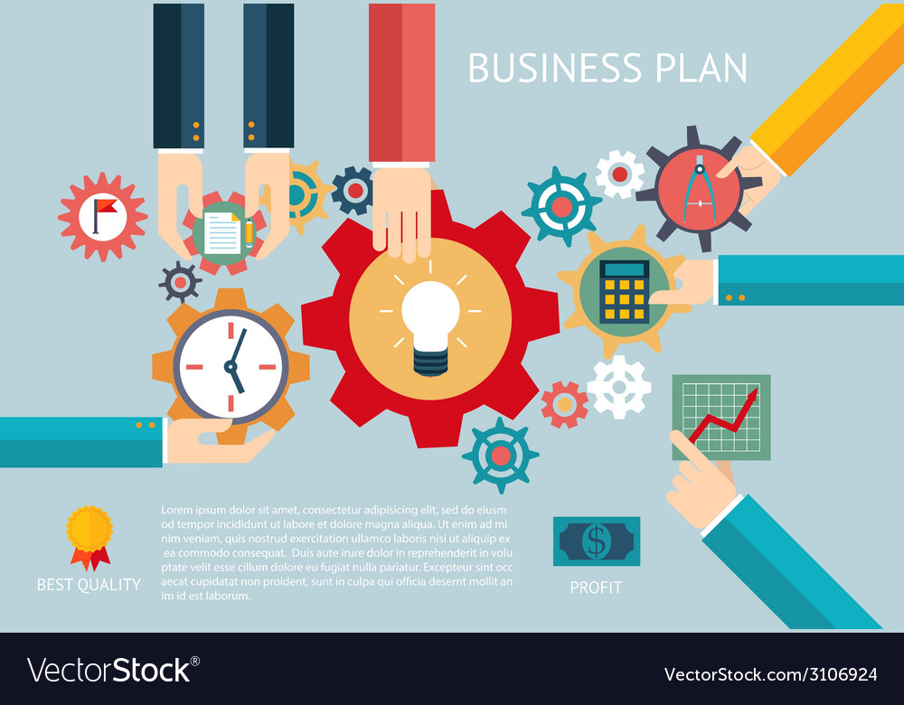 Business plan gears company team infographic work vector | Price: 1 Credit (USD $1)