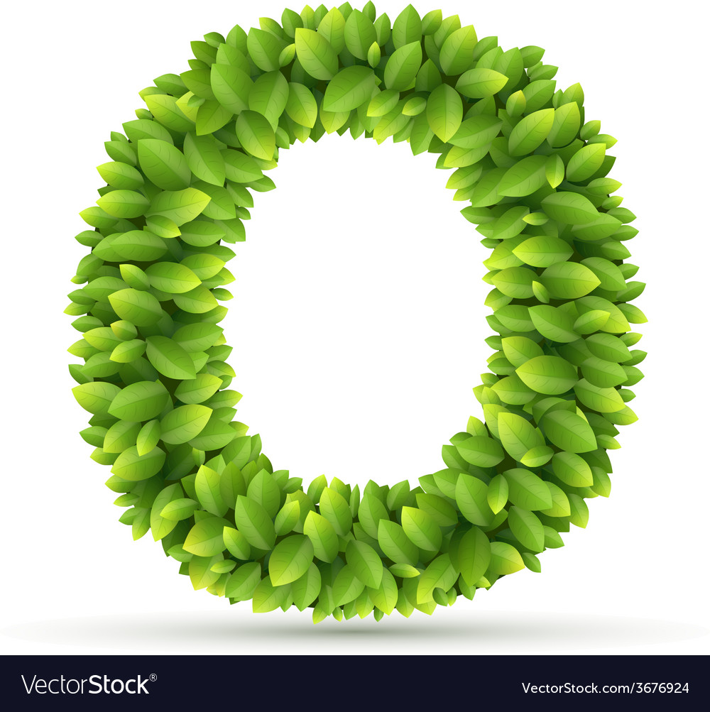 Letter o alphabet of green leaves vector | Price: 1 Credit (USD $1)