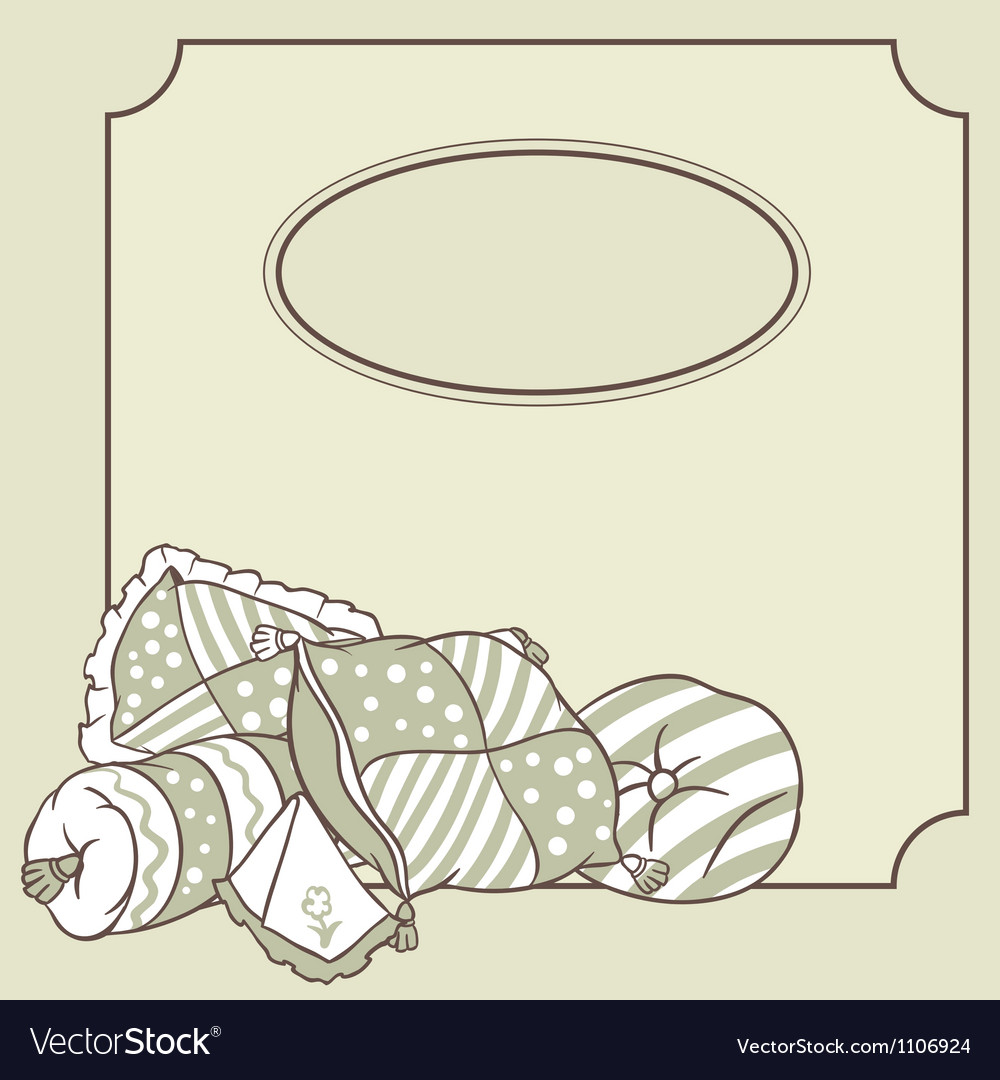 Pillows frame card for pajama party vector | Price: 1 Credit (USD $1)