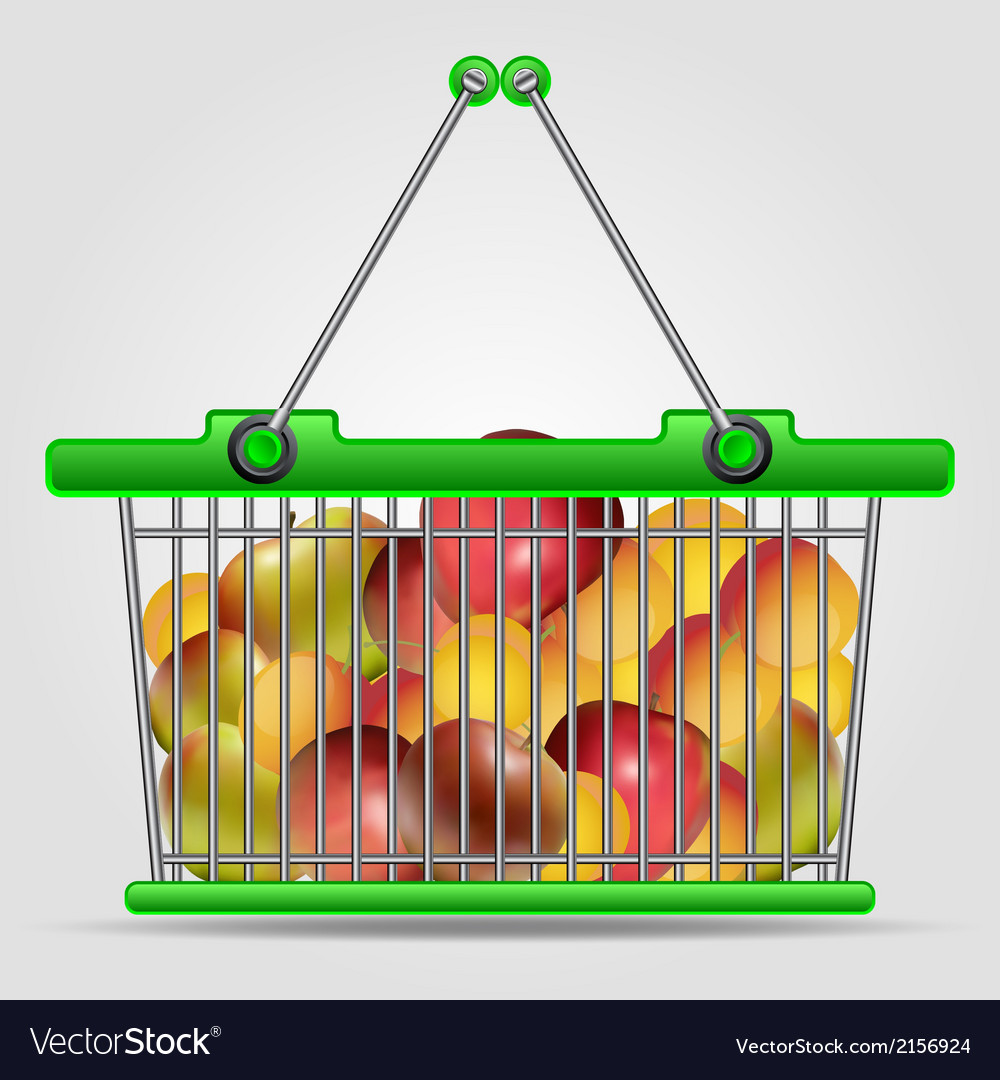 Shopping basket with fruits vector | Price: 1 Credit (USD $1)