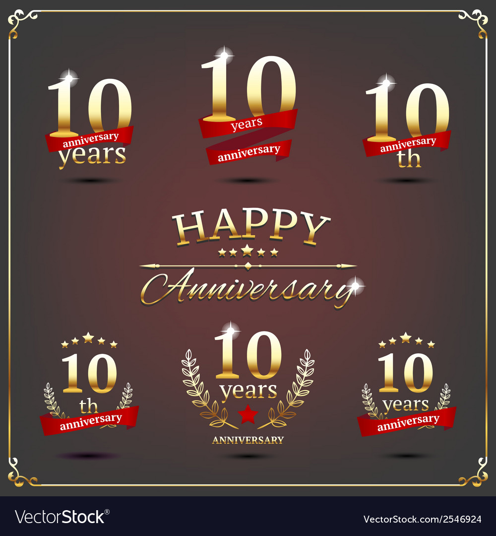 Ten years anniversary signs collection vector | Price: 1 Credit (USD $1)