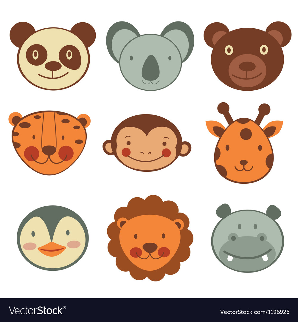 Animal head icons vector | Price: 1 Credit (USD $1)
