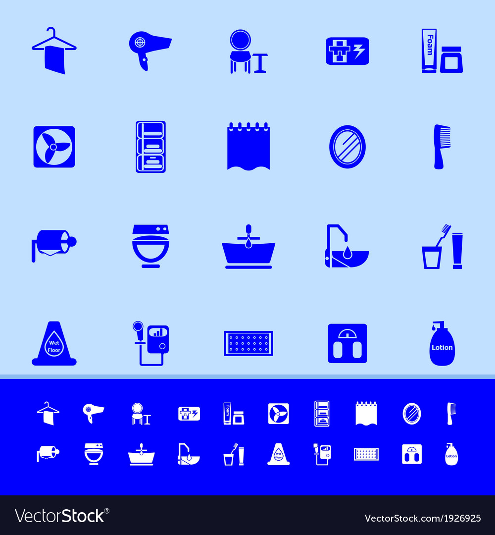 Bathroom color icons on blue background vector   Price: 1 Credit (USD $1)
