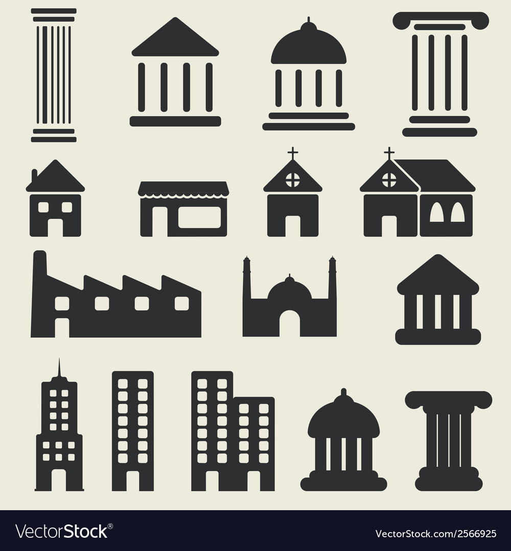 Building icons set vector | Price: 1 Credit (USD $1)