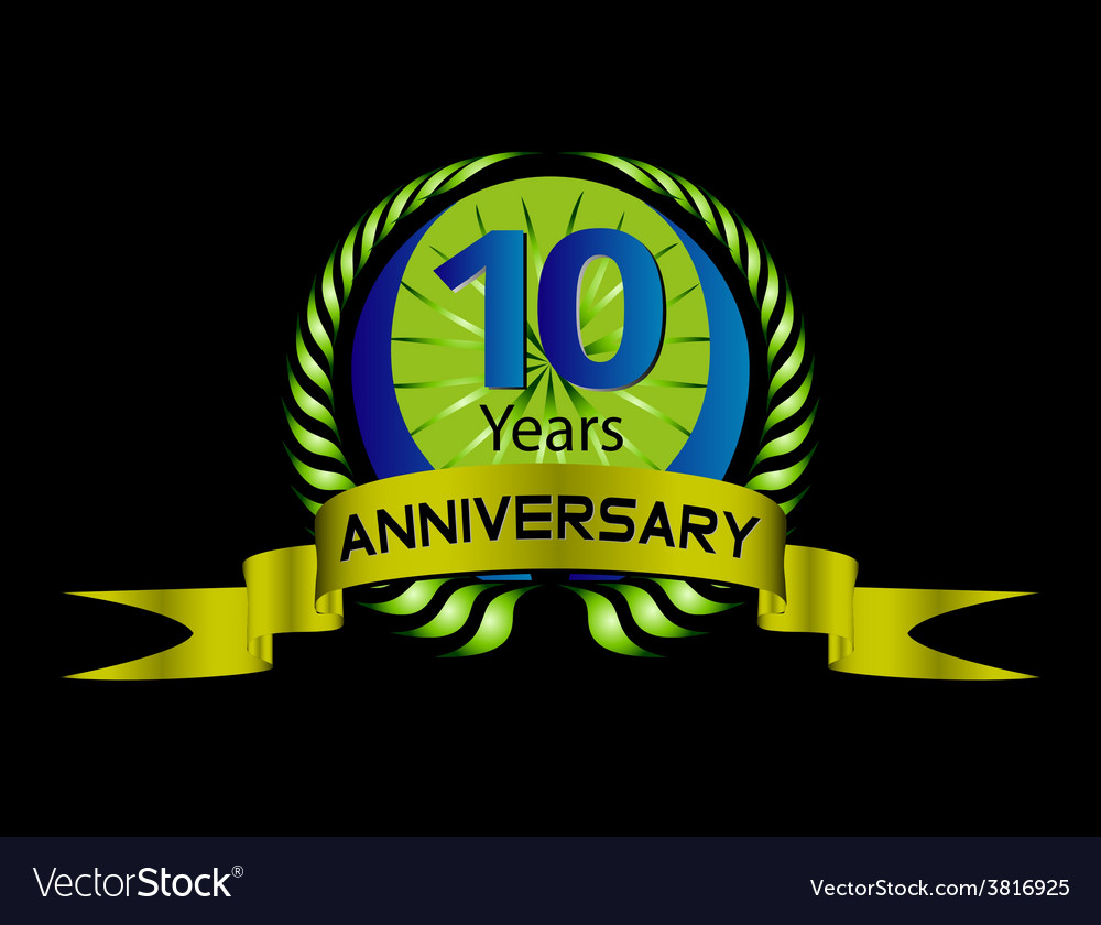 Celebrating 10 years anniversary green laurel vector | Price: 1 Credit (USD $1)