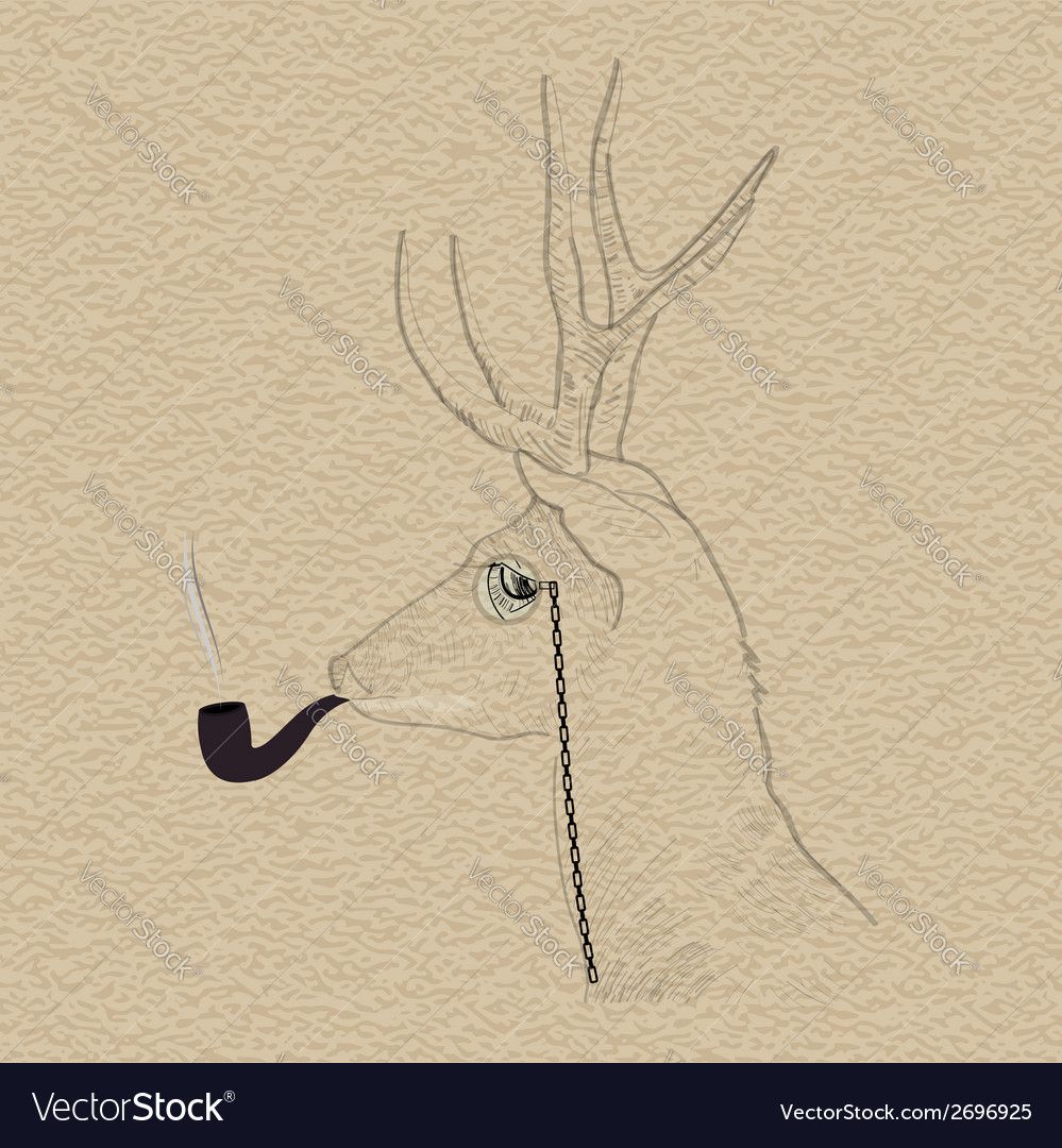 Hipster reindeer smoking tobacco pipe vector | Price: 1 Credit (USD $1)