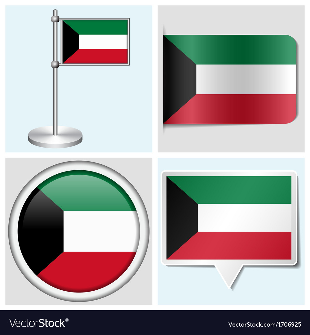 Kuwait flag - sticker button label flagstaff vector | Price: 1 Credit (USD $1)