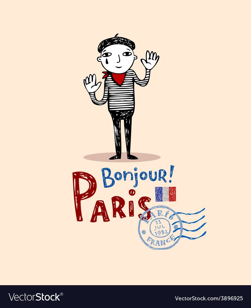 Paris post card vector | Price: 1 Credit (USD $1)