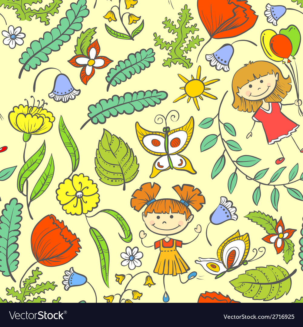 Pattern with kids vector | Price: 1 Credit (USD $1)