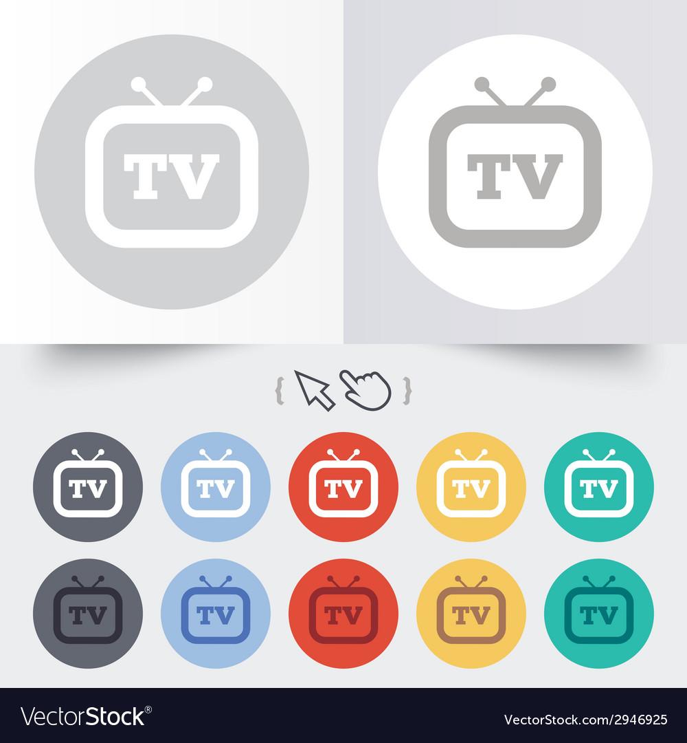 Retro tv sign icon television set symbol vector | Price: 1 Credit (USD $1)