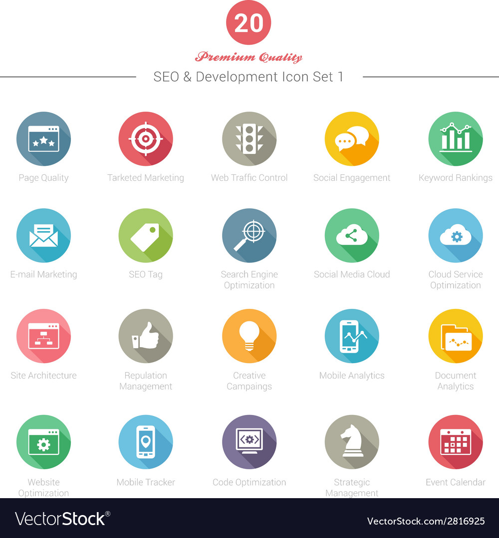 Set of round long shadow seo and development icons vector | Price: 1 Credit (USD $1)