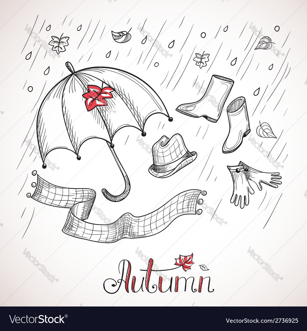 Sketch of autumn clothes and accessories vector | Price: 1 Credit (USD $1)