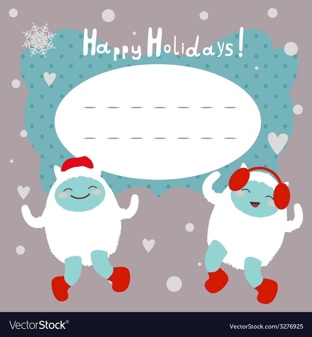 Winter holiday card with dancing yeti vector | Price: 1 Credit (USD $1)