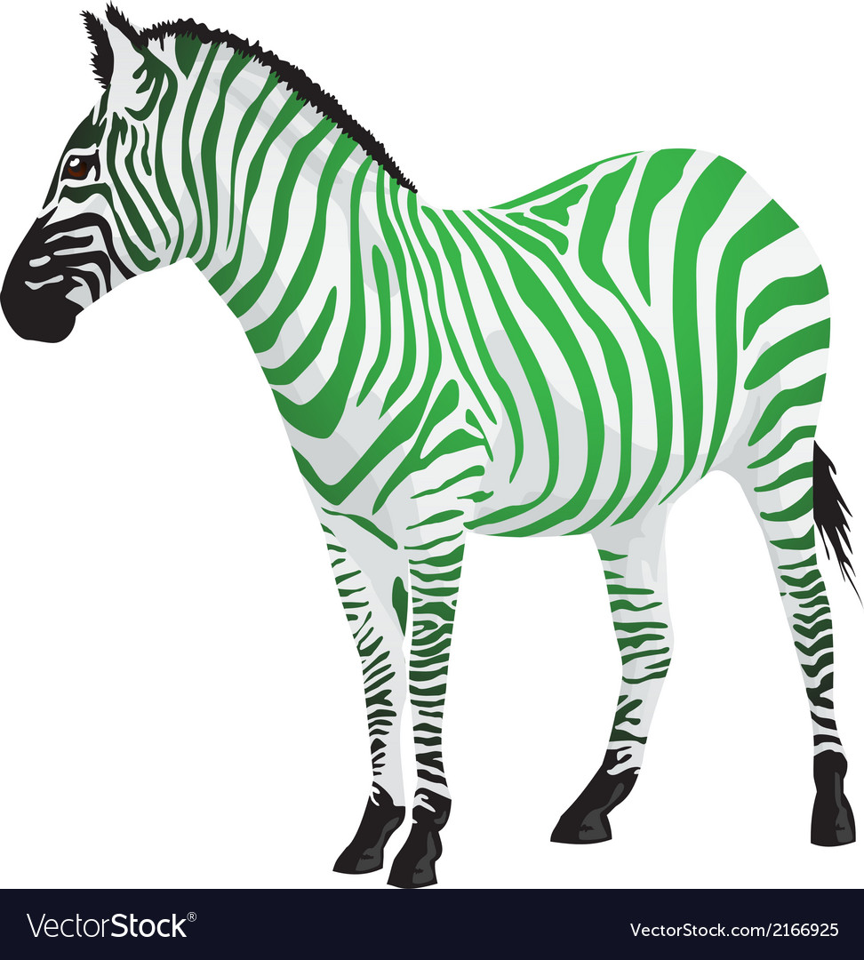 Zebra with strips of green color vector | Price: 1 Credit (USD $1)
